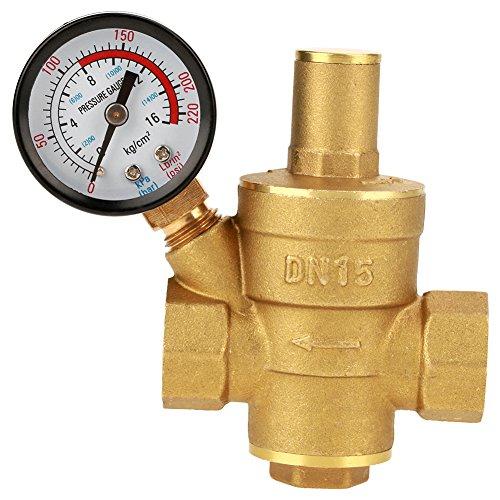 FTVOGUE DN15 Druckminderer Messing Einstellbare Wasserdruckregler Minderer mit Messgerät