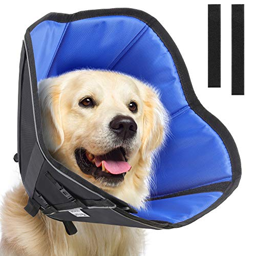 Manificent Dog Cone for Dog After Surgery with Buckle Clip, Soft Recovery Cone Collar for Dog and Cat, Prevent Pet Puppy Bite Licking Scratching Touching, Help Dog Healing from Wound Large Size