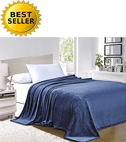 Elegant Comfort #1 Fleece Blanket on Amazon - Super Silky Soft - Sale - All Season Super Plush Luxury Fleece Blanket Full/Queen Navy Blue