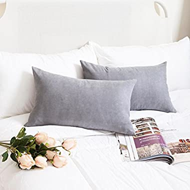 Kevin Textile Faux Suede Decorative Throw Pillow Case Cushion Cover Handmade Cushion Case for Couch (12 x20 , Neutral Grey), 2 Pieces