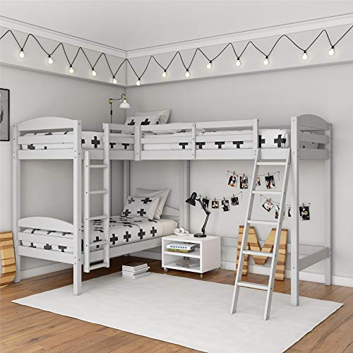 Dorel Living DL8794W Clearwater Triple, White Bunk Beds