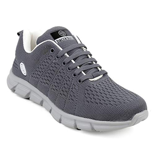 Bacca Bucci Men Casual Sports Shoes AIR Trainers-Gym Walking Running Athletic Competition Knitted Textile Light Weight Sport Sneakers - Grey