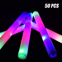 Taotuo 50 PCS Light up Party Supplies Glow Foam Sticks with Three Lighting Modes for Wedding, Party and Halloween