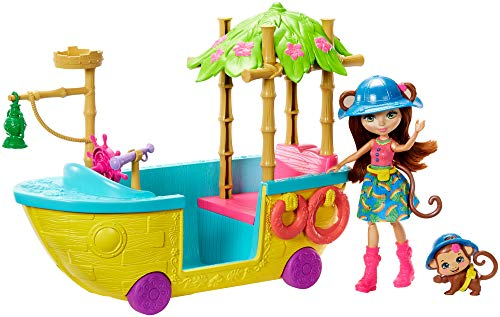 Enchantimals Junglewood Boat & Merit Monkey Doll (6-Inch) and Compass Animal Figure, 7+ Accessories