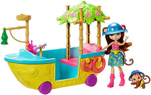 Enchantimaal GFN58 - jungle bos boot met aapjes en dieren, poppen speelgoed vanaf 4 jaar