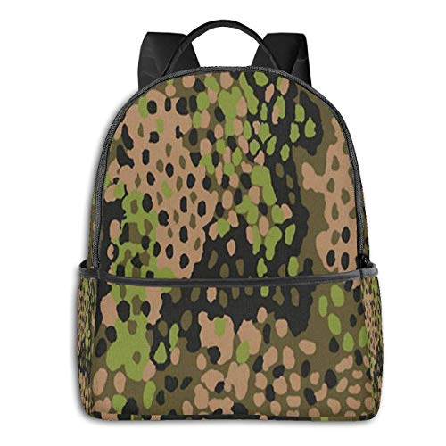 Hdadwy Ww2 Ss Erbsentarn Camo Backpack Unisex School Daily Backpack Lightweight Casual Travel Outdoor Camping Daypack