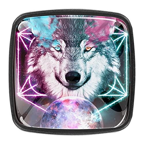 (4 piezas) pomos de cajón para cajones con tiradores de cristal para gabinete, hogar, oficina, armario, lobo fantasía, universo espacial de 35 mm