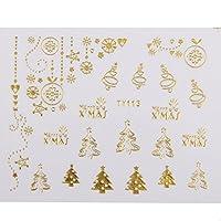 1シート3dの混合クリスマスデザインのネイルアートステッカーのヒントマニキュア - 金
