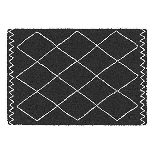 Alfombra Decorativa Rectangular 120 x 170 cm, Polipropileno saoura, Color Negro