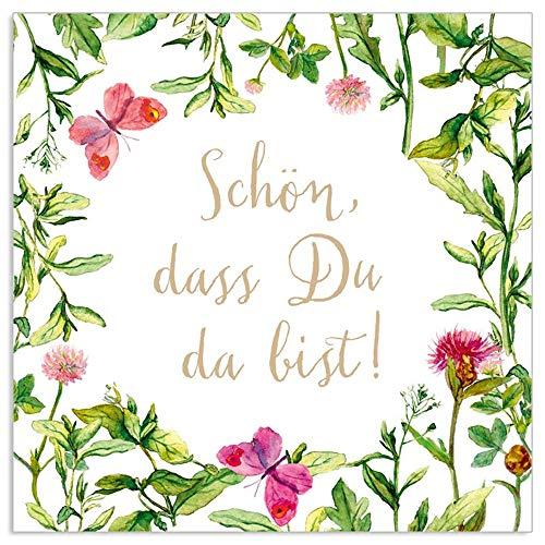 ARTEBENE Serviette Papierserviette Schön dass du da bist Blumen Blüten floral Tissue | 33 x 33 cm | 20 Stück | 3-lagig | Hochwertige Serviette für Feiern, Kaffe und Kuchen,Grillfeste