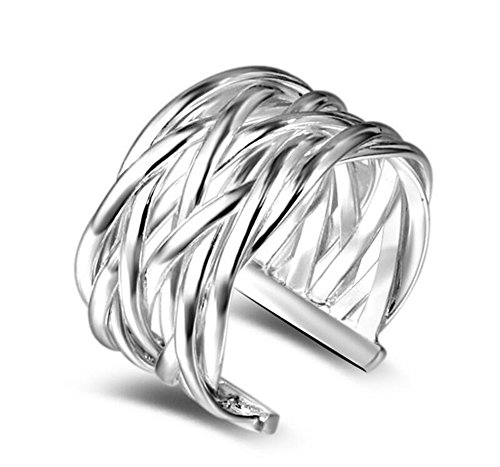 Emorias 1 Pcs Anillo de Plata Pareja Tejiendo Cuadrícula Amor Eterno Diamante Boda Compromiso Aleación Ajustable Mujer Joyería Regalos Accesorios