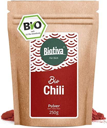 Chili Bio gemahlen - Cayennepfeffer 250g - fein gemahlenes Pulver (Cayenne, Capsicum cayennense) - feurig scharfes Chilipulver - Abgefüllt und kontrolliert in Deutschland (DE-ÖKO-005)