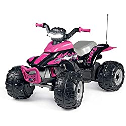The Peg Perego Corral T-Rex Quad bike is a fun and exciting ride on toy for your kids Made for easy and safe riding with 330 W power, this 12V electric quad bike has 2 wheel drive, an a 7km/h With a LED light up electronic dash button, motor sounds a...