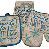 Oven Mitt Set - Kitchen Decorations - Sandy Toes and Salty Kisses Bring The Beach Into The Kitchen - Dish Towel - Oven Mitt - Pot Holder - Kitchen Decor