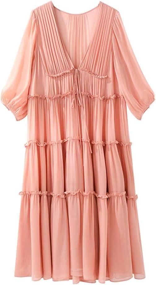 Dress Silk V-Neck Temperament Lady Mid-Length Skirt Loose Fit Pink Maxi Dress (Color : Pink, Size : L)