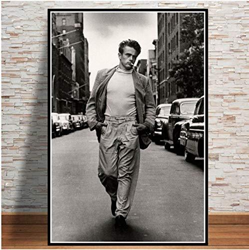 panggedeshoop James Dean Filmplakat Und Drucke Schauspieler Star Schwarz Weiß Gemälde Wandkunst Leinwand Für Wohnzimmer Wohnkultur 50X60Cm