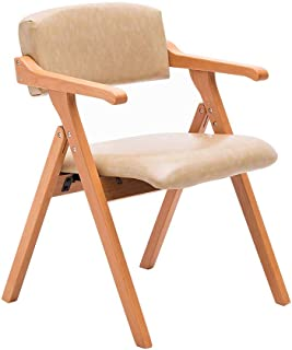 Dining Chair Solid Wood Folding Chair Armchair Home Restaurant Desk Balcony Chair Meeting Leisure Chair/Beige Leather/Maximum Load 200KG