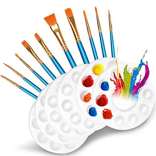 PHLPS 10 STÜCKE Pinsel Paint Paletten, 6 stücke Weiß Paint Tray Paletten, Farbpalettenlackhalter, Kunststoff Runde Paletten für Kinder, Student zum Malen oder eine Geburtstagsmalerei