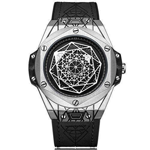 RUIMAS Orologio da uomo grande nero cinturino in pelle impermeabile Big Bang argento orologio da uomo