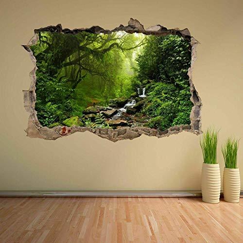 Adhesivo de Pared con efecto 3D Breakthrough Autoadhesivo Tropical Forest River 20x27inch(50x70cm) Etiqueta Engomada de la Pared del Cuarto de baño Etiqueta Engomada de DIY del Refrigerador