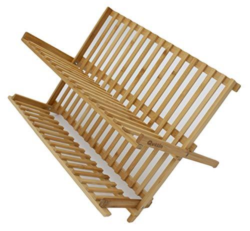 LEYENDAS ESCURREPLATOS. Escurridor de Platos con 2 Niveles de bambú Plegables (42X27X33 CM)
