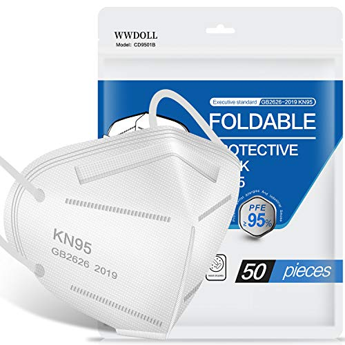 KN95 Face Mask 50 Pack, Included on FDA EUA List, WWDOLL KN95 Masks 5-Layer Breathable Cup Dust Mask with Elastic Earloop and Nose Bridge Clip, Protection Against PM2.5 Dust, Air Pollution White