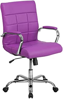 Flash Furniture Mid-Back Purple Vinyl Executive Swivel Office Chair with Chrome Base and Arms