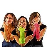 Neon Netzhandschuhe Set - grün, orange, pink - Schwarzlicht UV Effekt - Fasching, Karneval, Neon-Party, 80er