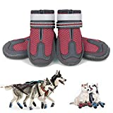 KEIYALOE Small Medium Large Dog Shoes for HotPavement Summer Breathable Mesh DogBoots Heat Protection Paw Dog Booties Reflective StrapsNon-Slip Sole