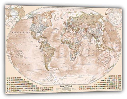"""J.Bauer Karten Aktuelle Politische Weltkarte """"Sepia"""", 150x100 cm, deutsch, Aktuell: Stand 2015"""