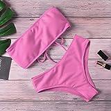 2020 New Bikini High Waist Strapless Sexy Bikini Women Swimwear Women Swimsuit Padded Bathing Suit Monokin Pure Color Retro Beachwear (Color : Pink, Size : L)