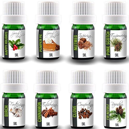 Aroma2Go Ultimate Happy Holidays Essential Oil Bundle Aromatherapy Gift Set includes 8 Bottles 5mL size 100% Pure Essential Oils. Happy Holidays, Pumpkin Pie, Nutmeg, Pine, Birch, Cinnamon, Clove, Fir