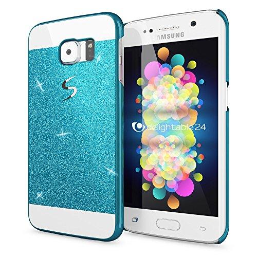 NALIA Handyhülle kompatibel mit Samsung Galaxy S6 Edge, Glitzer Slim Hard-Case Hülle Back-Cover Schutzhülle, Handy-Tasche Schale im Glitter Design, Dünnes Bling Strass Etui Smart-Phone Skin - Blau