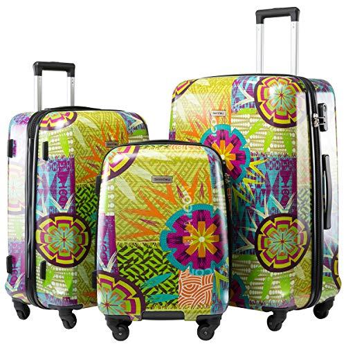 Hartschalen-Koffer Trolley Rollkoffer Reisekoffer Handgepäck (M-L-XL-Setmit Nummern Schloss und 4 Rollen Sunflower