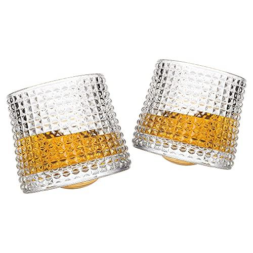 Joeyan Bicchieri di Dondolo Set di 2-160ml Bicchieri da Whisky Rotanti - Tumbler Whisky in Vetro per Whisky Bourbon, Scotch, Cocktail e Liquori