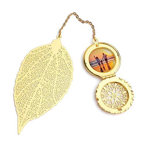 InspirsPanda Segnalibro personalizzato in foglia di metallo, Segnalibri personalizzati, Confezione regalo con segnalibro in piuma di metallo creativo personalizzato - Personalizza (D'oro)