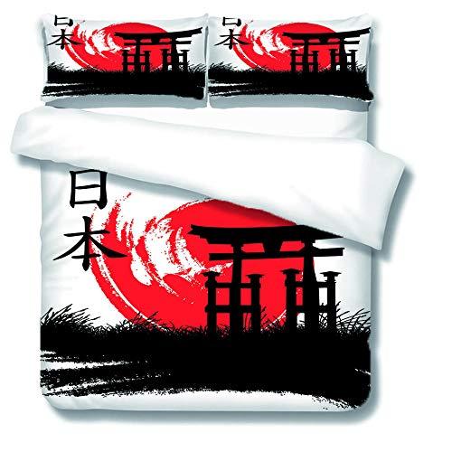 Funda De Edredón - Traje De Tres Piezas,Elementos del Tema Japonés Una Funda De Edredón - con 2 Fundas De Almohada 40X75Cm, Microfibra-Muy Suave240X260Cm