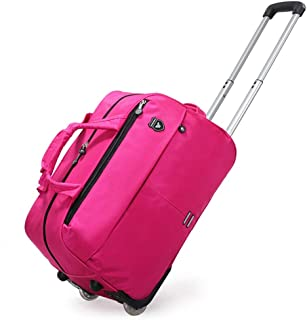 Soft Rolling Tote Travel Bag Suitcases with Wheels, Waterproof Rolling Duffel Bag Wheeled Business Carry on Luggage, Overnight Weekender Bags for Women (Color : Pink, Size : 24 inch)