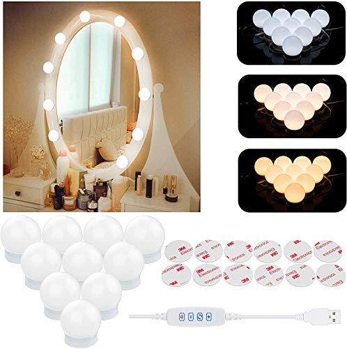 Luces de espejo, estilo Hollywood, kit de luces LED de espejo con 10 bombillas regulables, cable USB para espejo con 3 modos de color y 10 brillo ajustable (espejo y cargador USB no incluido)