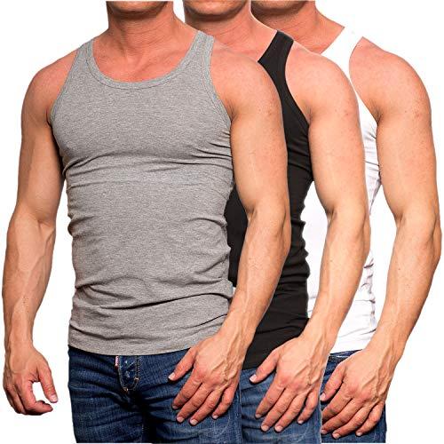JACK & JONES Herren Tank Top 3er Pack Muskelshirt Baumwolle Unterhemd Weiß Schwarz Slim Fit (3er Pack Mix1, L)
