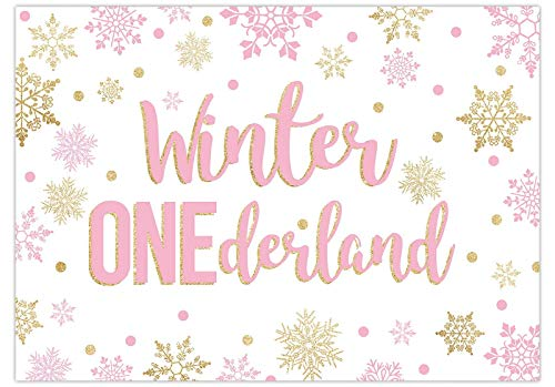 Funnytree 7x5FT Winter Onederland Backdrop Pink Gold Christmas 1st Birthday Party Banner Decoration Snowflake Wonderland Photography Background Supplies Photo Booth Props Favors Gifts