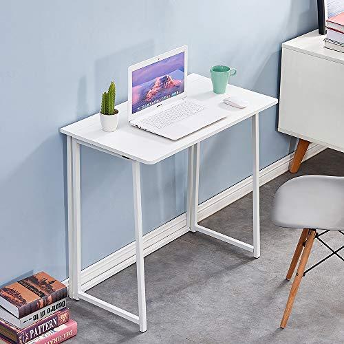 QIHANG-UK Folding Laptop Desk White Small Desk Bedroom Corner Table, Space-Saving Foldable 80cm Modern Wood Laptop Desk for Small Space Home Office Study Bedroom College Student Dorm