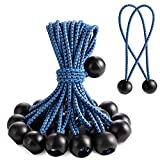 Bungee Cords with Balls 25Pcs, 6Inch Ball Bungee Cords Universal Bungee Cords tarp Ties for Tarpaulin, Tent Tarps, Canopy, Banner, Flag Poles, Pavilions, Camping & Luggage