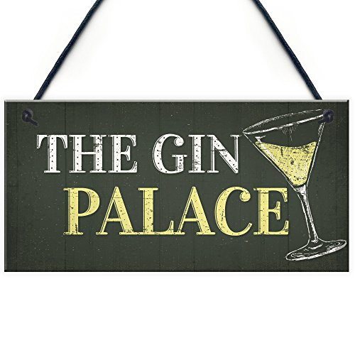 RED OCEAN Gin Palace Sign Garden Shed Man Cave Home Bar Pub Plaque Funny Friendship Gifts For Her
