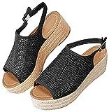 Minetom Mujer Sandalias Verano Plataforma Cómodos Elegante Moda Chic Playa Romano Zapatos De Boca De Pescado Negro 43 EU