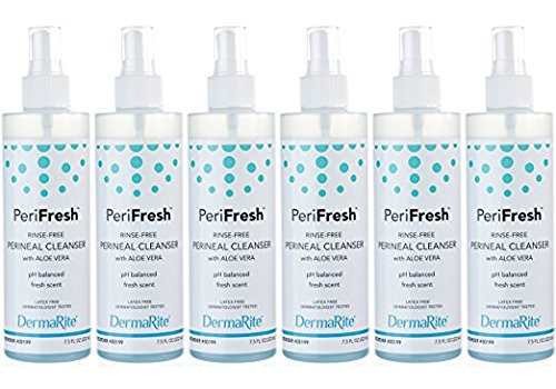 PeriFresh No Rinse Perineal Cleanser Spray, 6 Pack - 7.5 oz Peri Bottle - Mild Formula with Aloe - for Incontinence Care, Postpartum - for Men and Women