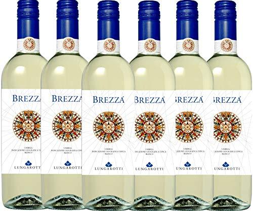 VINELLO 6er Weinpaket Weißwein - Brezza Bianco 2020 - Lungarotti mit einem VINELLO.weinausgießer | trockener Weißwein | italienischer Sommerwein aus Umbrien | 6 x 0,75 Liter