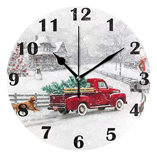 Pfrewn Winter Red Truck Dog Wall Clock Silent Non Ticking Snowman Snowflake Clocks Battery Operated Vintage Desk Clock 10 Inch Quartz Analog Quiet Bedroom Living Room Home Decor