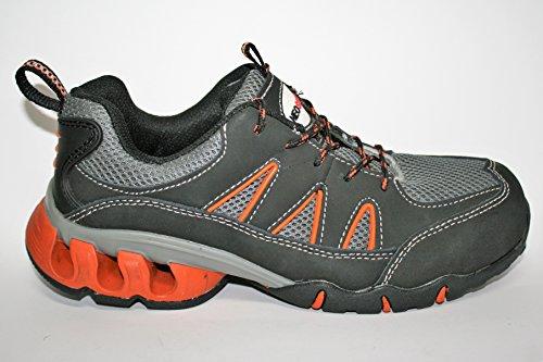 Neosafety28006 Zapatos de seguridad con puntera de Acero, Imesh Microfibra, Tacón con Amortiguación, Anti-Estático, sola Anti-Perforante, Negro/Naranja/Gris