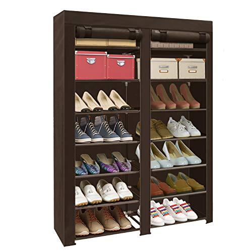 ERONE Shoe Rack Storage Organizer , 28 Pairs Portable Double Row with Nonwoven Fabric Cover Shoe Rack Cabinet for Closet (Brown)
